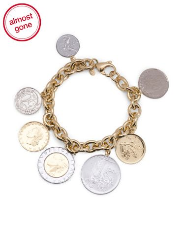 Made+In+Italy+18k+Gold+Plated+Sterling+Silver+Lire+Coin+Charm+Bracelet