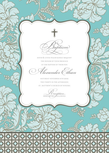 Pale Blue Brocade Invitation