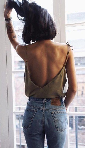 summer outfits  Khaki Off The Shoulder Top + Denim Jeans