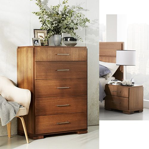 The Vancouver suite offers beautiful Australian made pieces.    Pictured: Vancouver Bedside Table and Five Drawer Tallboy.