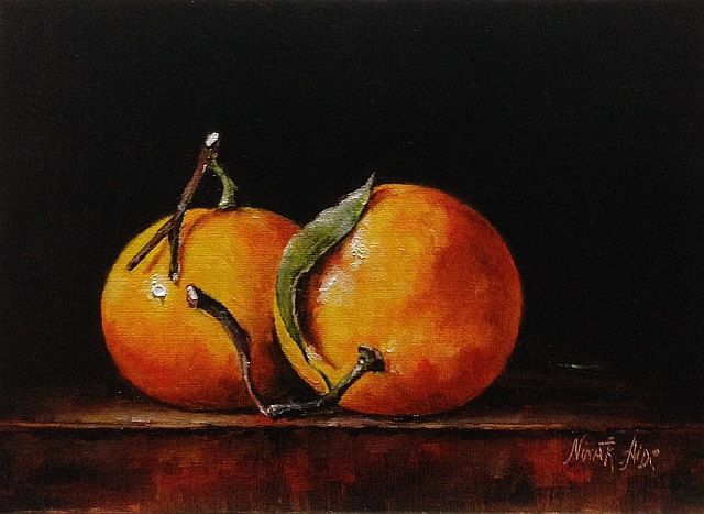 Oil Painting Two Clementines Nina R Aide Fine Art Small Painting  Chiaroscuro Classic Art Kitchen Art Fruit