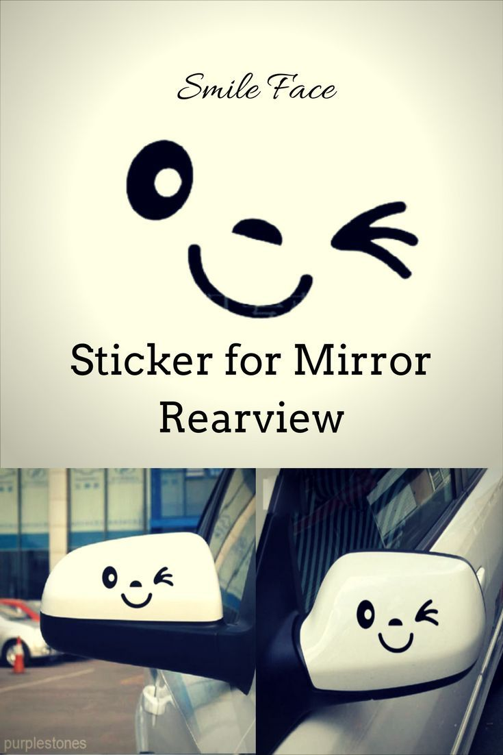 Black Smile Face Design Sticker for Car Side Mirror Rearview.