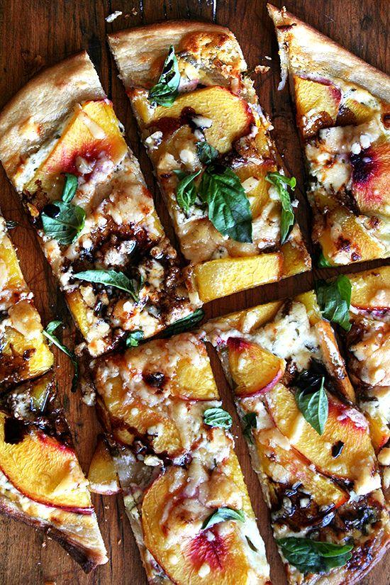 nectarine, ricotta, mozzarella + basil pizza