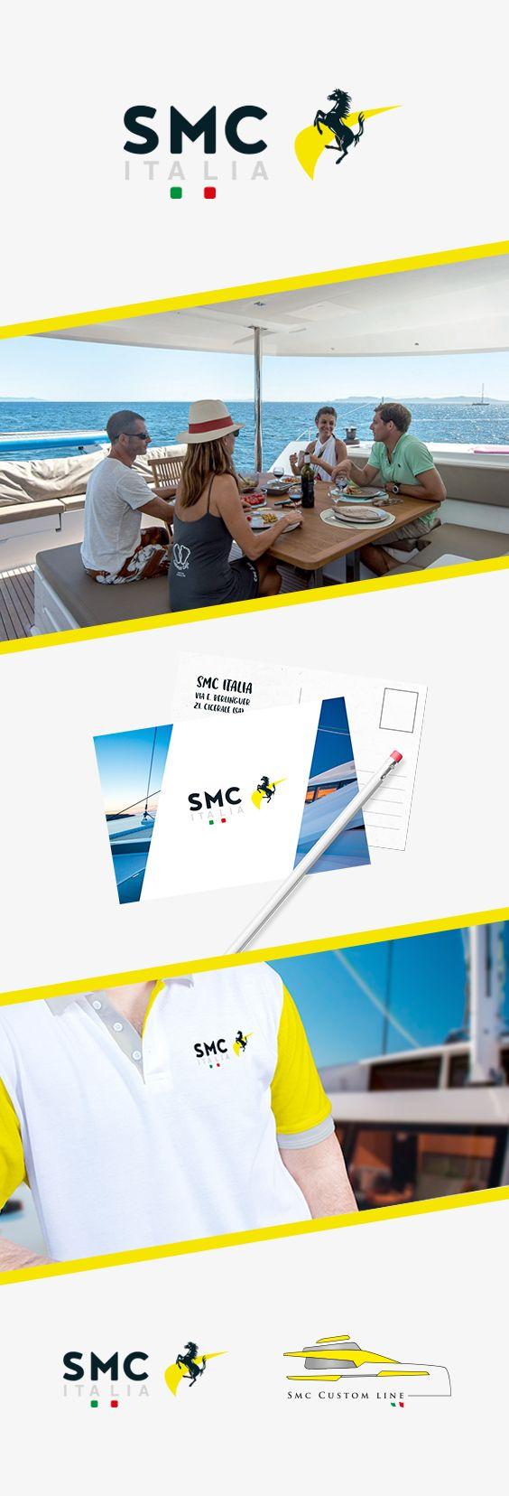 Restyling ed immagine coordinata del logo di Smc Italia, azienda specializzata nel settore nautico + Studio e realizzazione del Logo Smc Custom Line, brand dedicato alla customizzazione di catamarani di lusso.