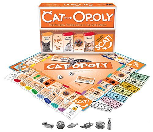 Cat-Opoly Monopoly Board Game by Late for the Sky Late   http://www.amazon.com/gp/product/B0000663R6/ref=as_li_tl?ie=UTF8&camp=1789&creative=390957&creativeASIN=B0000663R6&linkCode=as2&tag=pieofscr0f-20&linkId=KCILCDRNLAJGONOO