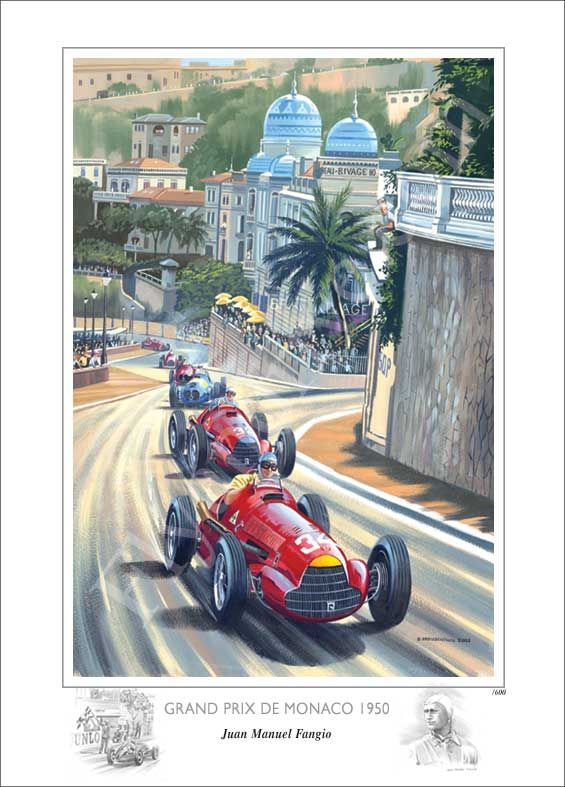 f1 1950 monaco gp poster fangio motorsport pinterest f1 monaco and grand prix. Black Bedroom Furniture Sets. Home Design Ideas
