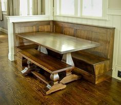 """breakfast nook idea - build a half-wall to divide dining room if you don't have a """"nook"""" area already."""