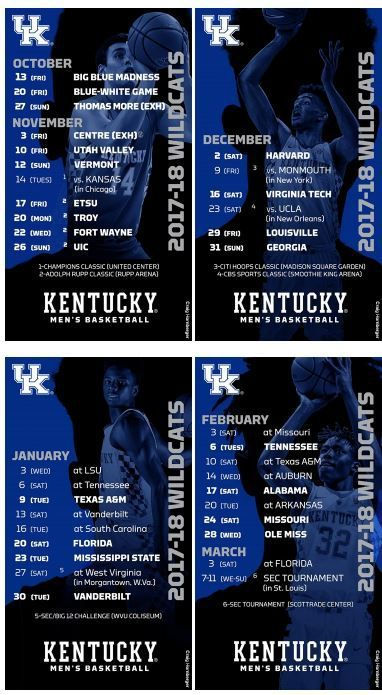Kentucky Wildcats Basketball: Full 2017-18 Schedule, Channels, Dates and Times Set - A Sea Of Blue