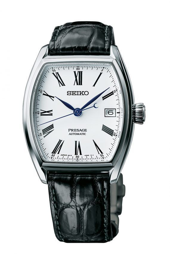@seikowatches Presage Automatic (Ref. SPB049) - this model with a tonneau case measures 46 mm x 39.5 mm and 12.5 mm thick; it has a dual-cylinder sapphire crystal covering the dial and is water-resistant to 50 meters.  More @ http://www.watchtime.com/wristwatch-industry-news/watches/seiko-presage-enamel-collection-4-new-models-debut/ #seiko #watchtime #Baselworld2017