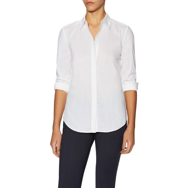 PURE NAVY Women's Classic Oxford Shirt - White - Size S ($50) ❤ liked on Polyvore featuring tops, white, navy blue shirt, shirt tops, white shirt, white oxford shirt and navy white shirt