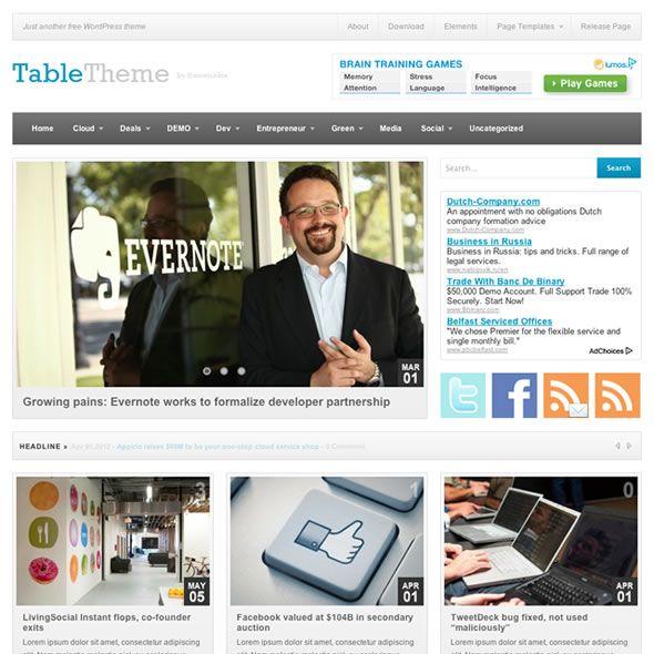 Table Wordpress Theme miễn phí của Theme-Junkie: Style Website, Magazines Style