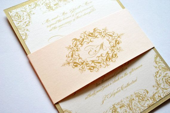 Blush and Gold Wedding Invitations, Gold, Blush, Champagne, Blush, Pink, Champagne, Gold, Victorian, Elegant, Vintage