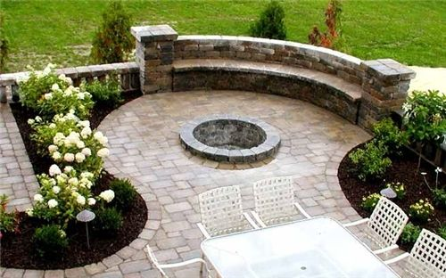 Firepit and pavers with areas for seating & plants, too.
