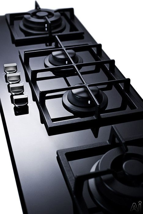 "Summit GC443BGL 43"" Island Gas Cooktop with 4 Sealed Burners, Cast Iron Grates, Electronic Ignition and Smooth Black Ceramic Glass Surface"