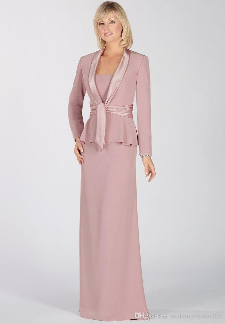 Elegant 2015 blush pink chiffon long sleeves mother of for Women s dress pant suits for weddings