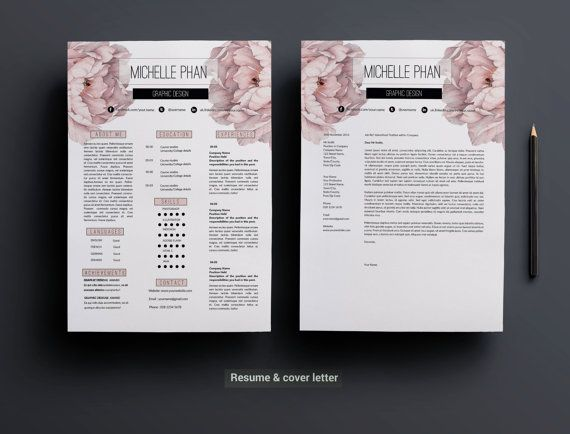 Plantilla profesional 1 CV carta de presentación por ChicTemplates