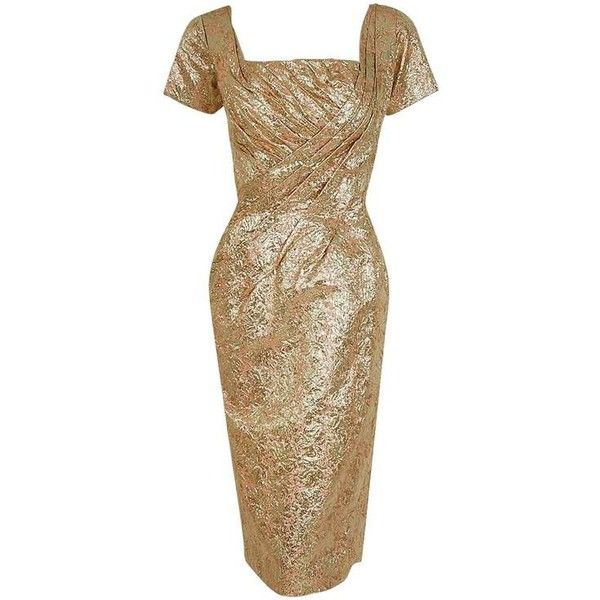 Preowned 1950's Ceil Chapman Metallic-gold Lame Ruched Hourglass... ($800) ❤ liked on Polyvore featuring dresses, multiple, cocktail party dress, vintage party dresses, vintage floral dress, vintage dresses and holiday party dresses