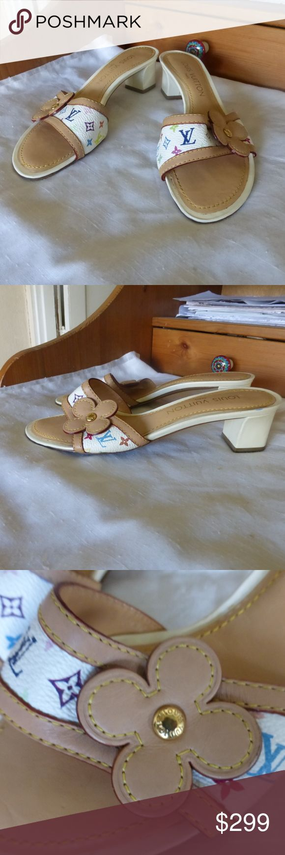 """LOUIS VUITTON MURAKAMI MULES SANDALS 36-6 ITALY CHANEL WHITE MURAKAMI LEATHER MULES SLIP-ON SANDALS.  SIZE 36 - 6. FITS A SIZE 6.  9.25"""" LONG FROM TIP TO TIP FOLLOWING CONTOUR.  2"""" HEEL HEIGHT. MADE ON ITALY. LOUIS VUITTON Shoes Mules & Clogs"""
