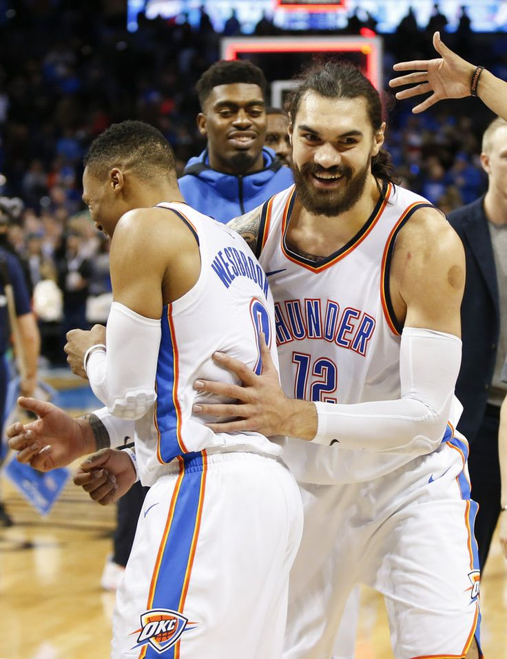 Oklahoma City's Steven Adams (12) celebrates with Russell Westbrook (0) after an NBA basketball game between the Oklahoma City Thunder and the Atlanta Hawks at Chesapeake Energy Arena in Oklahoma City, Friday, Dec. 22, 2017. The Thunder won 120-117. Photo by Nate Billings, The Oklahoman