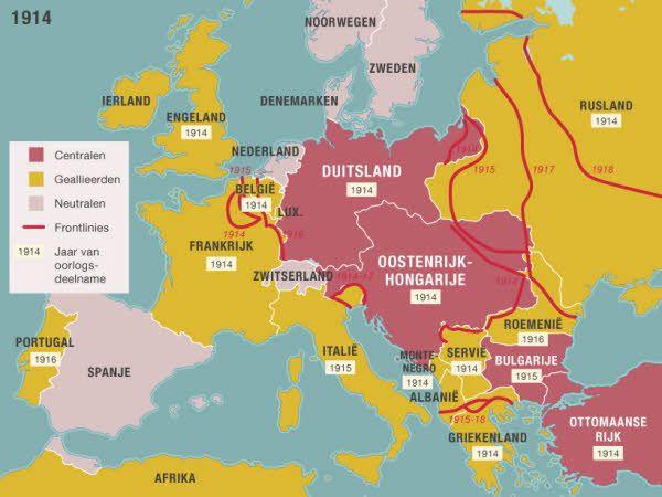 Oostenrijk-Hongarije verklaart Servië de oorlog na de moord op Franz Ferdinand.  Het Duitse keizerrijk sluit zich aan en het Osmaanse of Turkse rijk, dat tegenover Rusland staat, neemt ook plaats in het verbond van de Centralen. Zo ook Bulgarije en Italië. In november 1918 geven de Centralen zich over. Op 28 juni 1919, precies vijf jaar na de moord op Franz Ferdinand, wordt de vrede van Versailles getekend door Duitsland en de Entente en is de Eerste Wereldoorlog ten einde.