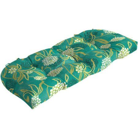 Mainstays Outdoor Patio Wicker Settee Cushion, Beige