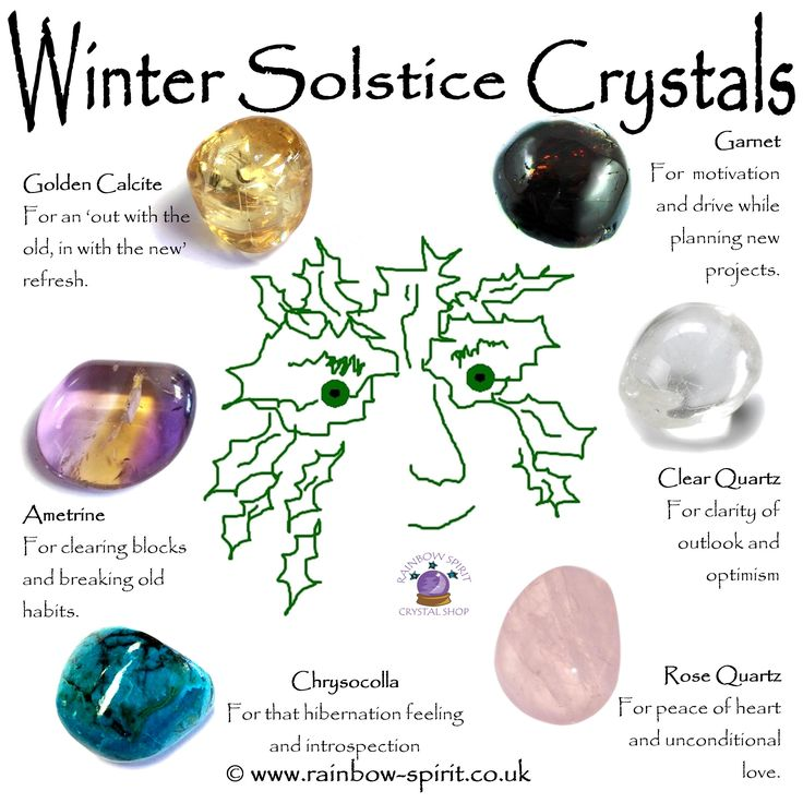 Rainbow Spirit crystal shop - Winter Solstice crystals, showing a choice of tumbled gemstones that support us at this time of year.