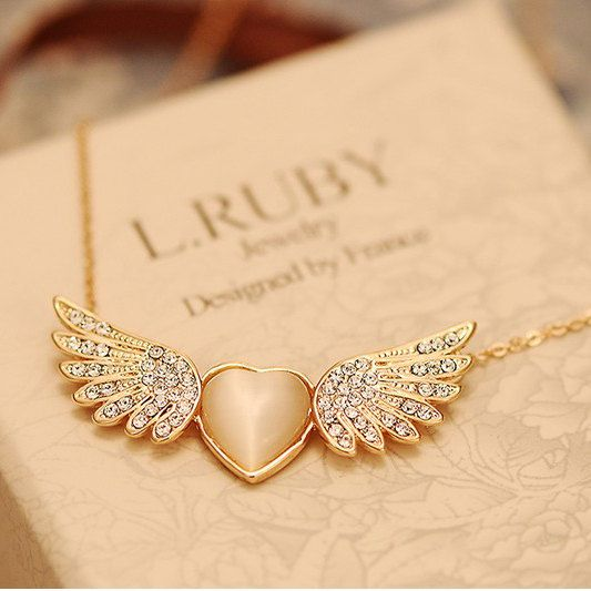 Angel Wing Necklace Rose Gold Necklace Eternity by evermarker, $22.95