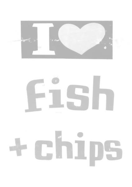 I ♥ Fish and Chips - Gray Art Print