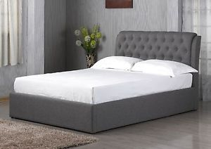 CHESTERFIELD STYLE OTTOMAN STORAGE BED AVAILABLE IN GREY FABRIC MATTRESS OPTIONS
