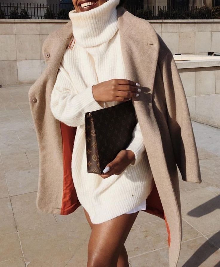 Sweater dress and camel coat Street style, street fashion, best street style, OOTD, OOTD Inspo, street style stalking, outfit ideas, what to wear now, Fashion Bloggers, Style, Seasonal Style, Outfit Inspiration, Trends, Looks, Outfits.
