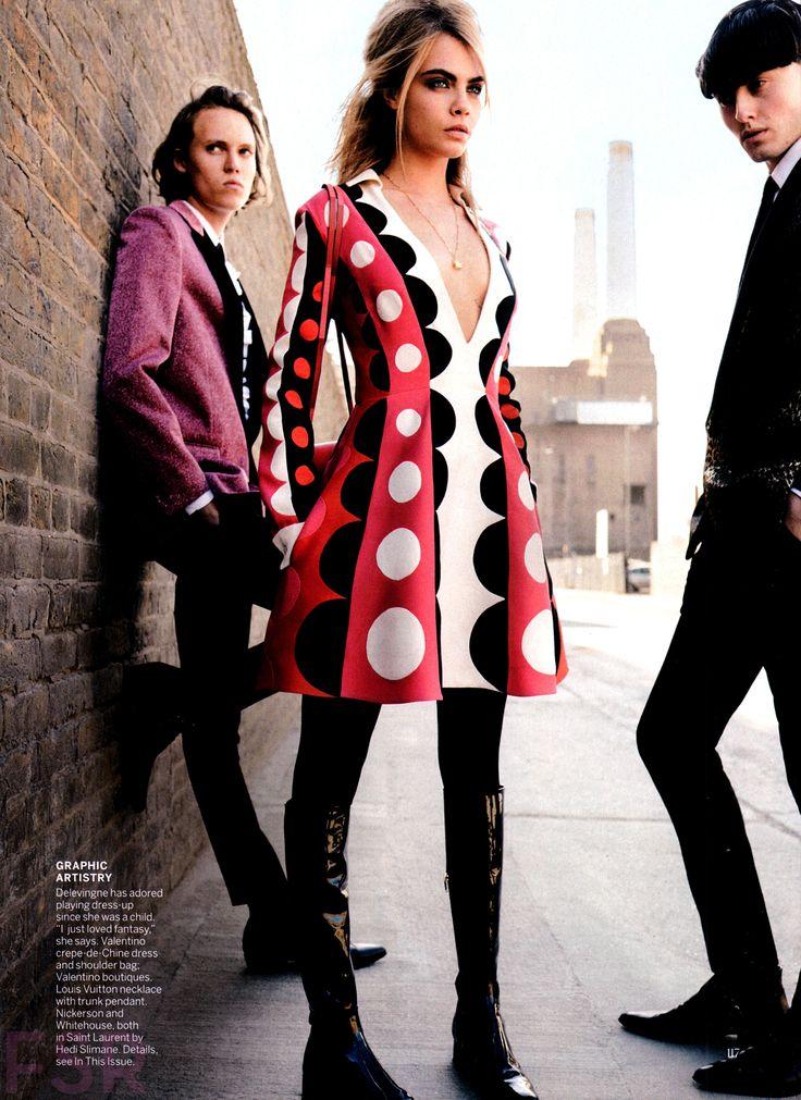 """Mod Goddess"" Cara Delevingne for Vogue US July 2014 by Mario Testino"