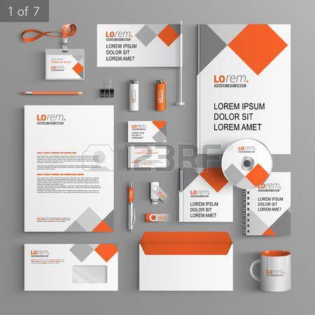 immagine coordinata: Bianco disegno modello di corporate identity con elementi quadrati rossi e grigi. Affari cancelleria Vettoriali