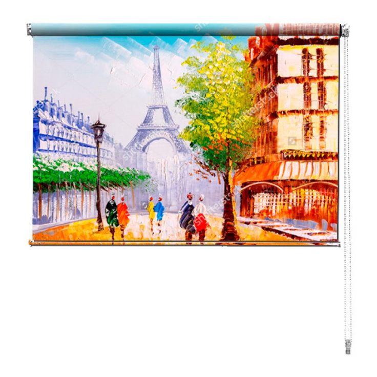Rolgordijn Kunstwerk in Parijs | De rolgordijnen van YouPri zijn iets heel bijzonders! Maak keuze uit een verduisterend of een lichtdoorlatend rolgordijn. Inclusief ophangmechanisme voor wand of plafond! #rolgordijn #gordijn #lichtdoorlatend #verduisterend #goedkoop #voordelig #polyester #kunst #parijs #schilderij #frans #frankrijk #eiffeltoren