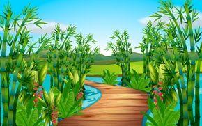 Обои река, зелень, мост