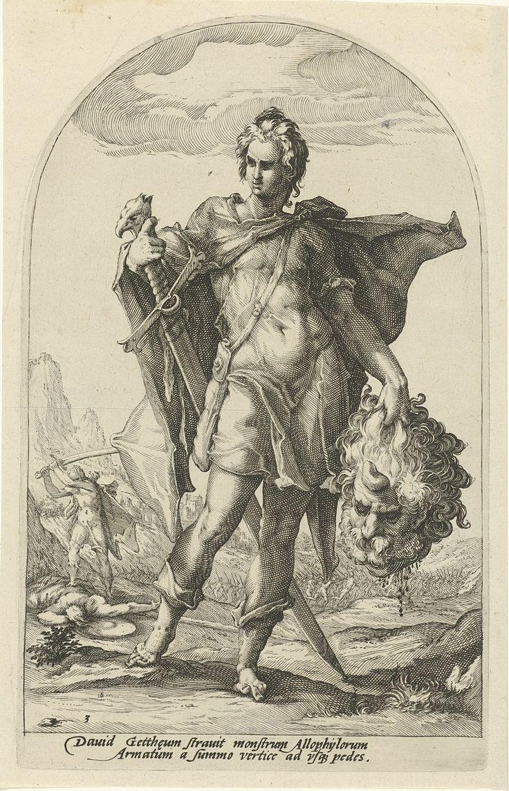 David, Hero of the Old Testament by Jacob Matham, 1585-1589. Rijksmuseum, Public Domain