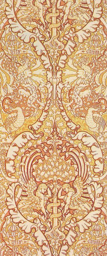 'Corona Vitae' wallpaper design by Walter Crane, produced in 1890.