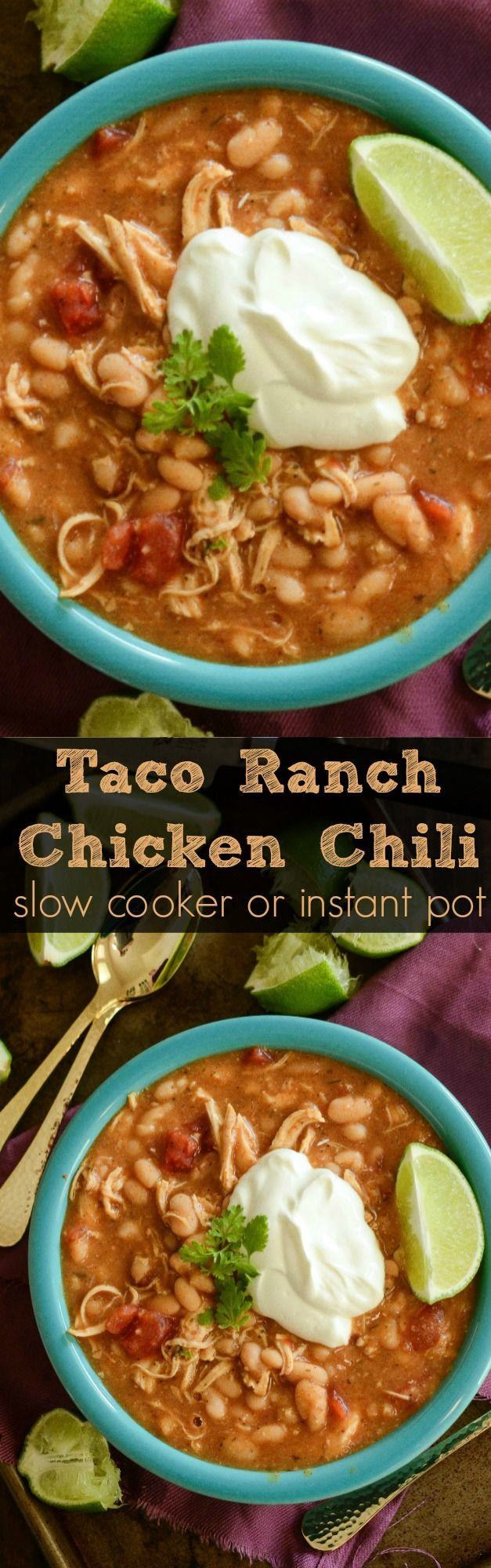 This amazing Taco Ranch Chicken Chili is made with just 5 ingredients in a slow coooker