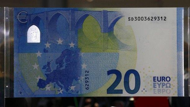 So sieht er aus, der neue 20 Euro Schein.