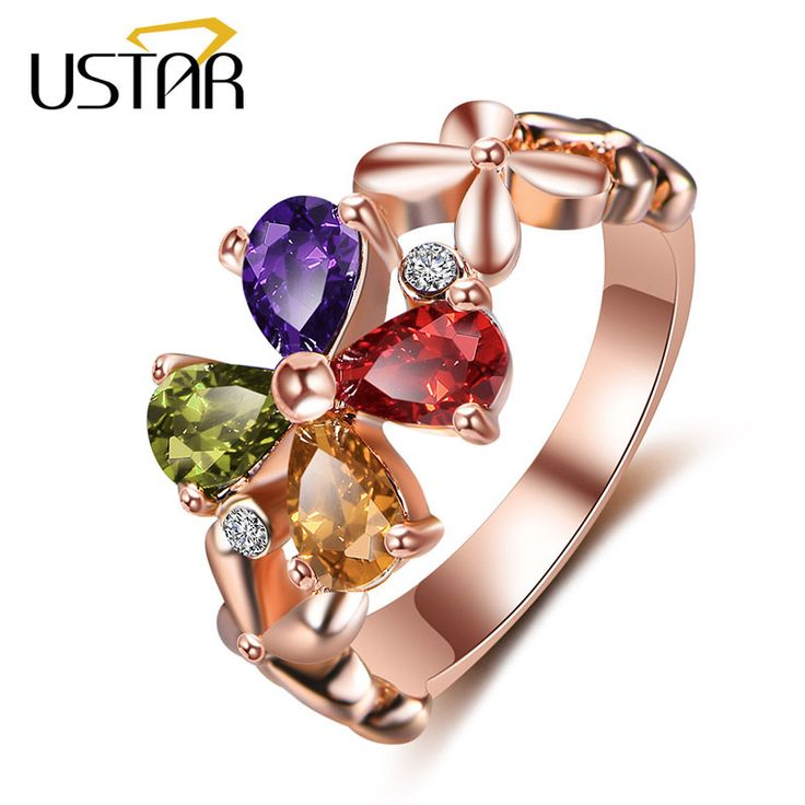 price 546 like and share if you want this new 2017 colors flower crystals rings for - Colored Wedding Rings
