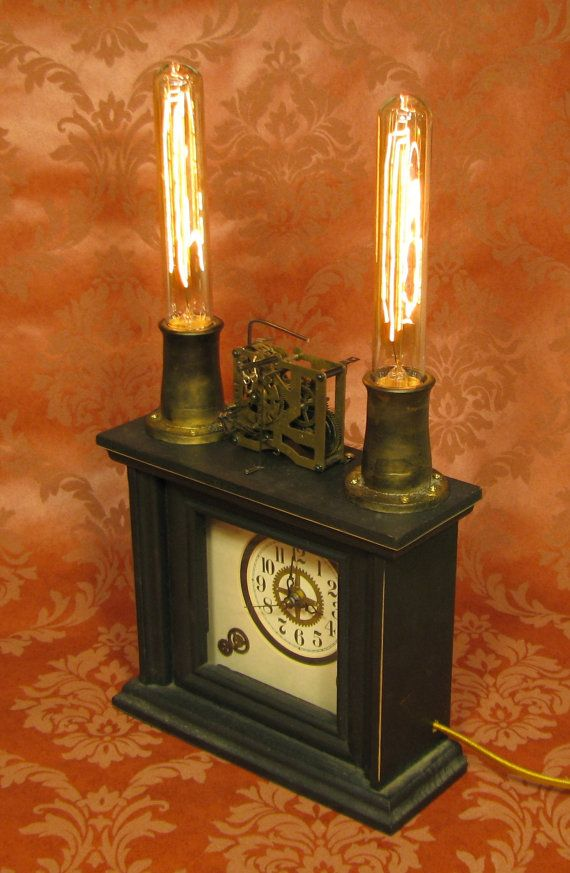 Steampunk Clock Lamp Steam Punk Clock Light by VictorianMachines,