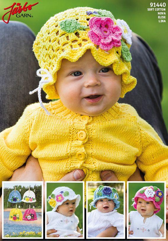 Virkade och stickade blomsterhattar till babyn