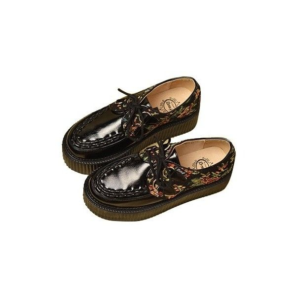 Black Lace Up Platform Sneakers With Tribal Flowers Embroidery... ($63) ❤ liked on Polyvore featuring shoes, sneakers, creepers, footwear, tribal shoes, black shoes, creeper shoes, platform trainers and tribal sneakers