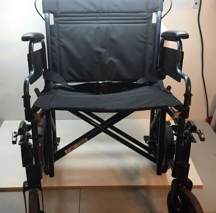 "Nova Medical 22"" Heavy Duty Transport Wheelchair Blue w/ Handbrake 332B #NOVA"