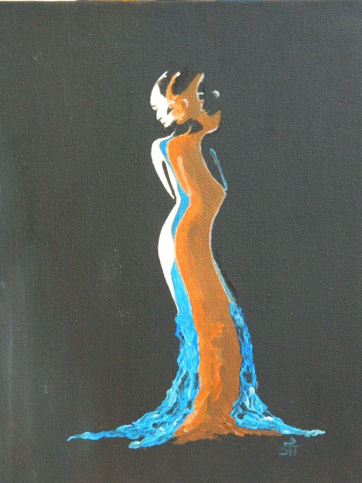 20x23 White, Brown and Black lady, Acryl  Art. Sjoerd F Talsma