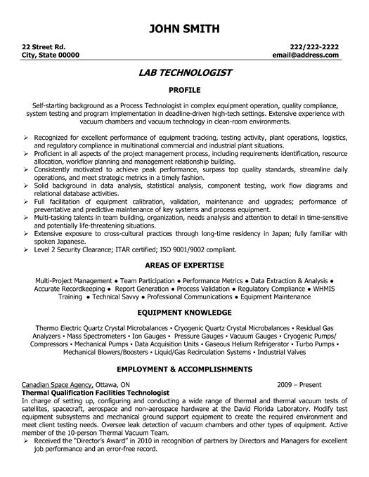 Sample Resume For Lab Assistant Stunning Design Lab Tech Resume 4 Medical  Laboratory Technician .
