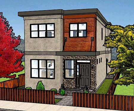 Long duplex for a narrow lot elevation duplex multi for Multi family plans for narrow lots