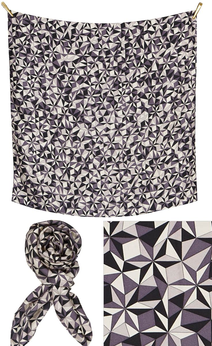 3D silk scarf | Grey/Black/Cream Beautiful silk scarf, size 90x90cm, in 100% Silk Twill with rolled hand stitched edges aw16 fashion accessory love for graphic design and great quality