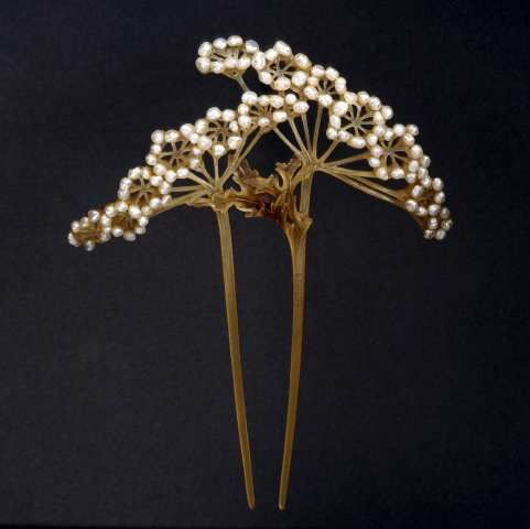 Lucien Gaillard & Rene Lalique.  Vintage HAIRPIN.... I see it as stitches and beads on a crazy quilt...