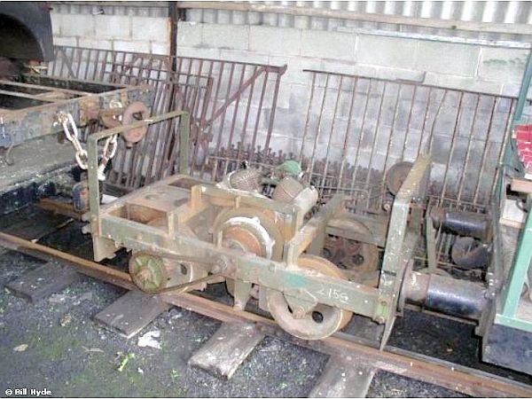 My target trolley minus its body resides with Llanuwchllyn carriage shed, awaiting its turn in the workshops - Bill Hyde collection