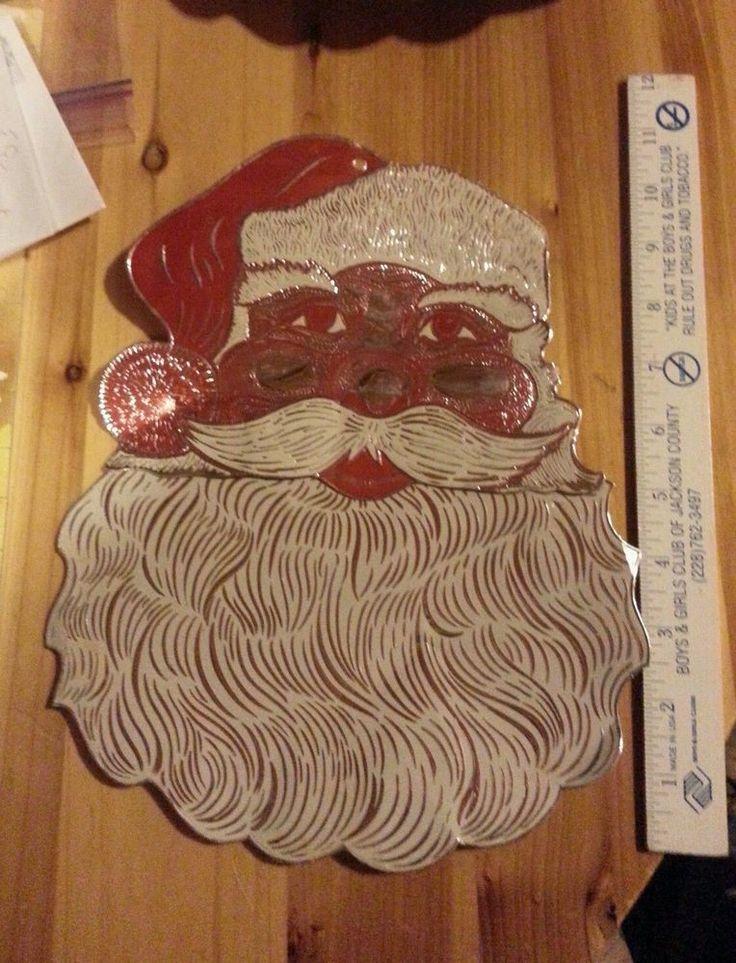 Santa Claus embossed foil die-cut vintage Christmas decoration 40s 50s vintage